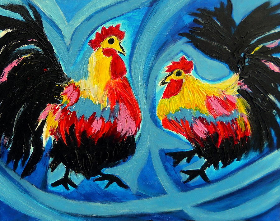 Painting - Gallitos by Ted Hebbler