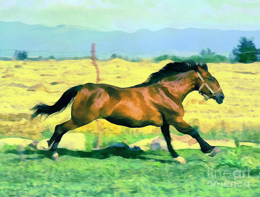 Odon Painting - Gallope by Odon Czintos