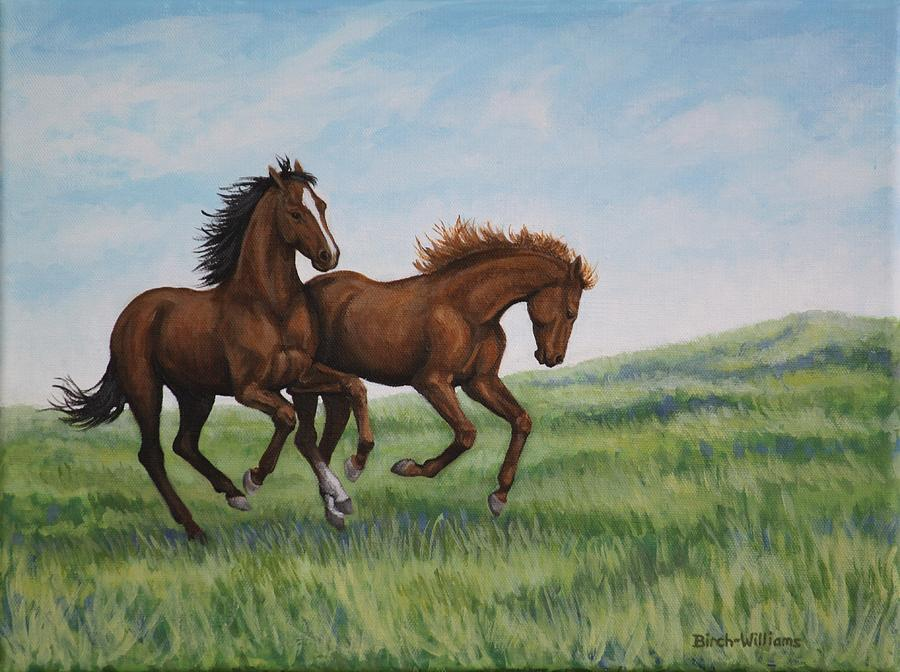 Horses Painting - Galloping Horses by Penny Birch-Williams