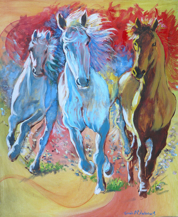 Horses Painting - Galloping On by Tomas OMaoldomhnaigh