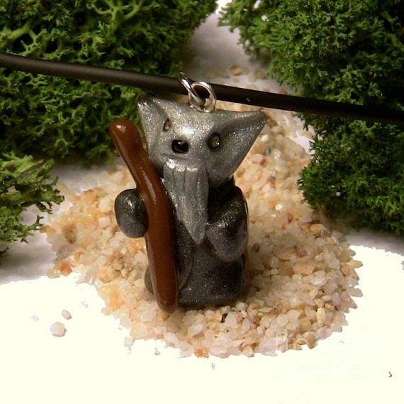 Necklace Jewelry - Gandalf Kitty Wizard Lord Of The Rings Parody Necklace by Pet Serrano