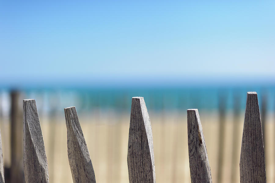 Horizontal Photograph - Ganivelles At Ste Maxime Beach, Golfe De St-tropez by Alexandre Fundone