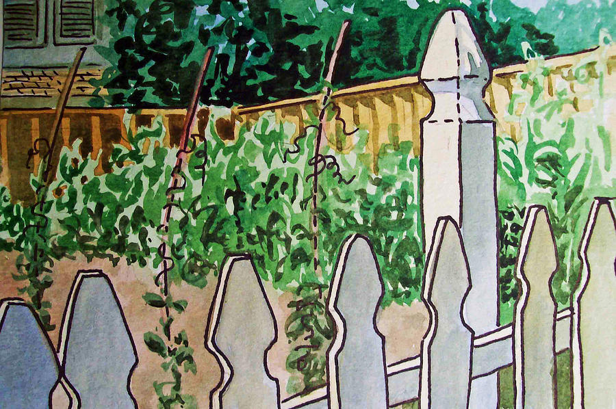 Garden Painting - Garden Fence Sketchbook Project Down My Street by Irina Sztukowski