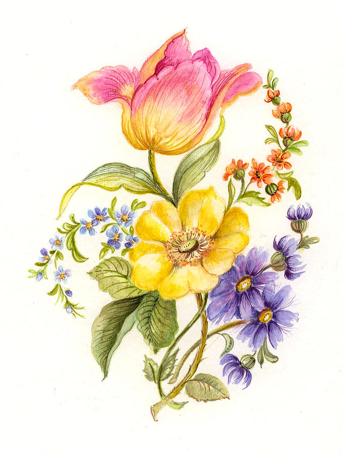 calm painting garden flowers 1 by suzanne gebhardt - Simple Flower Garden Paintings