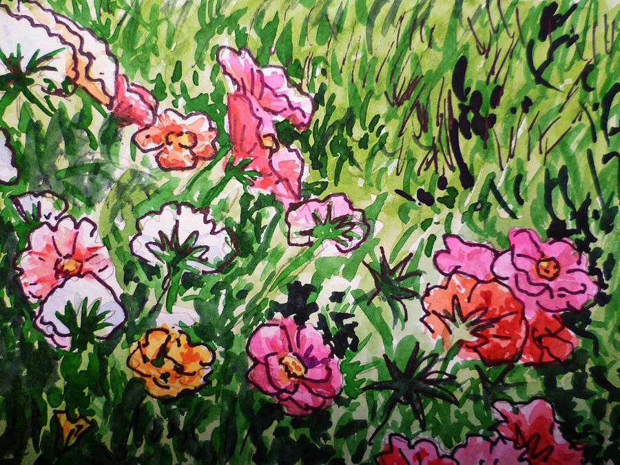 Flowers Painting - Garden Flowers Sketchbook Project Down My Street by Irina Sztukowski