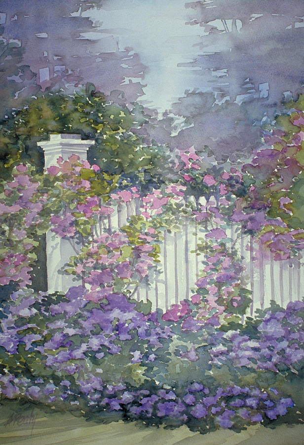 Garden Gate Roses Painting By Audrey Peaty