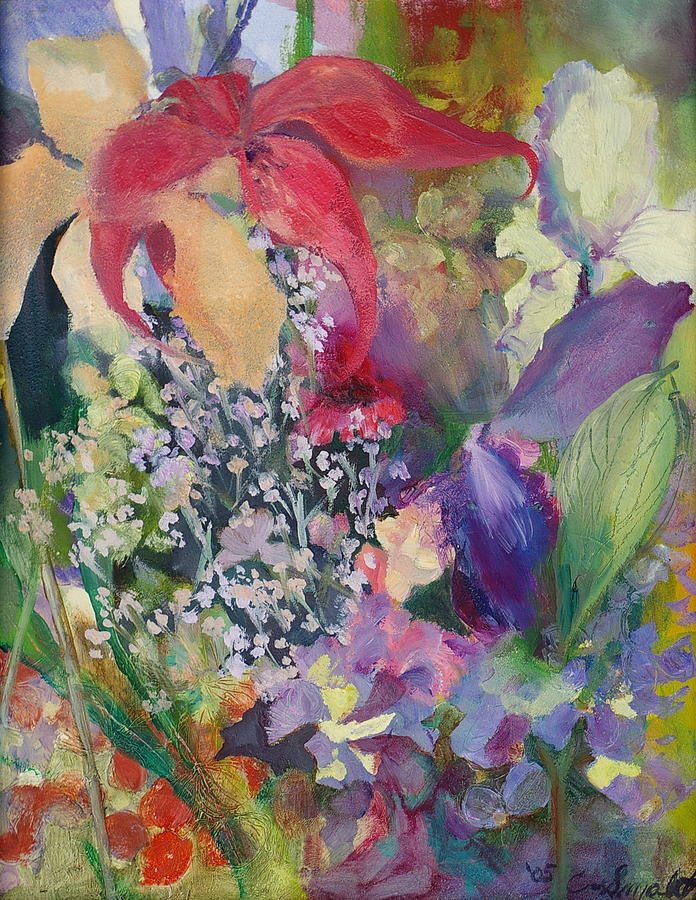 Oil Paintings-gardens Painting - Garden Party by Claudia Smaletz