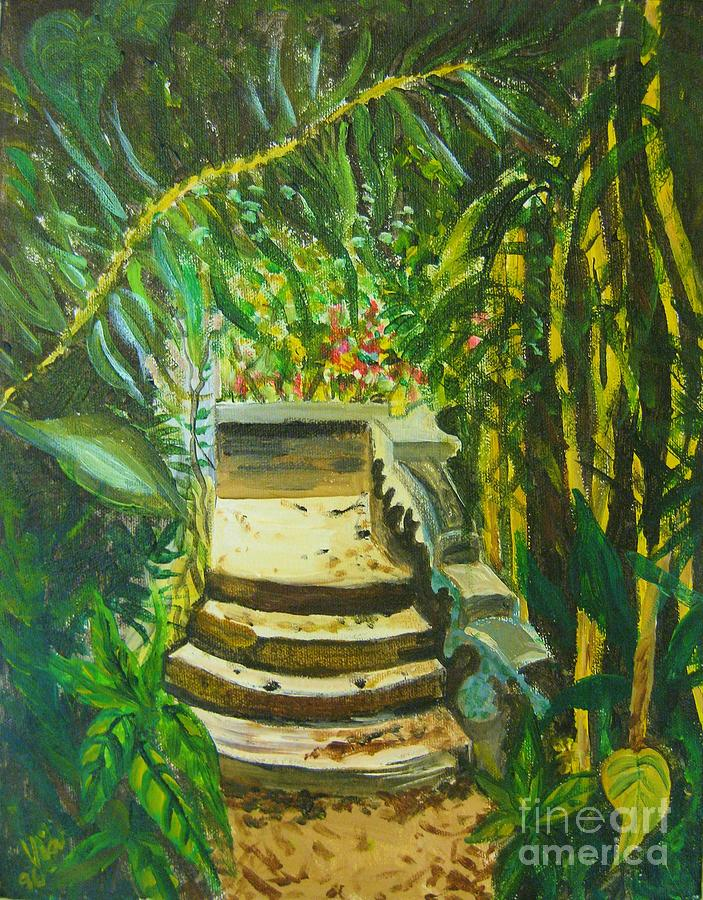 Steps Painting - Garden Passage by Judy Via-Wolff