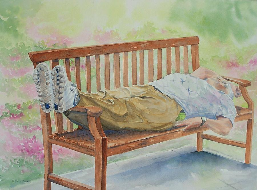 Bench Painting - Garden Respite by Celene Terry