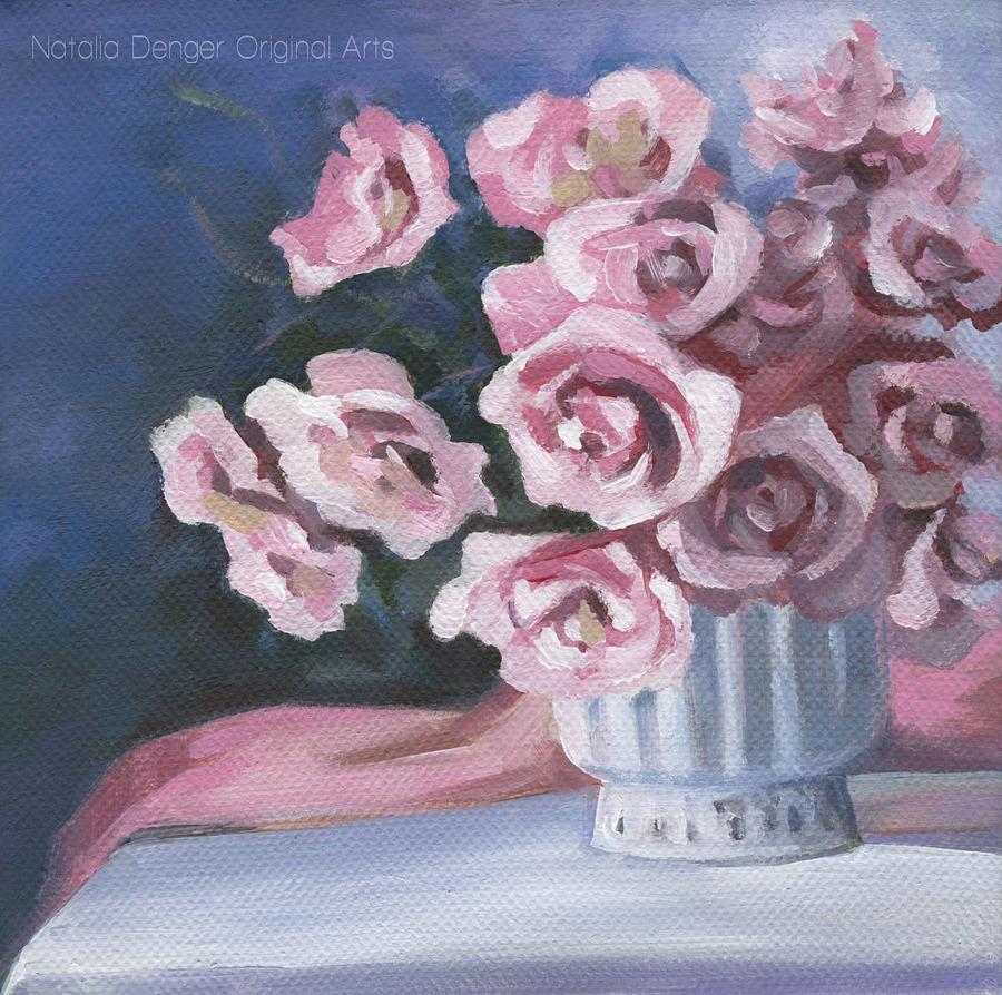 Floral Art Painting - Garden Roses by Natasha Denger