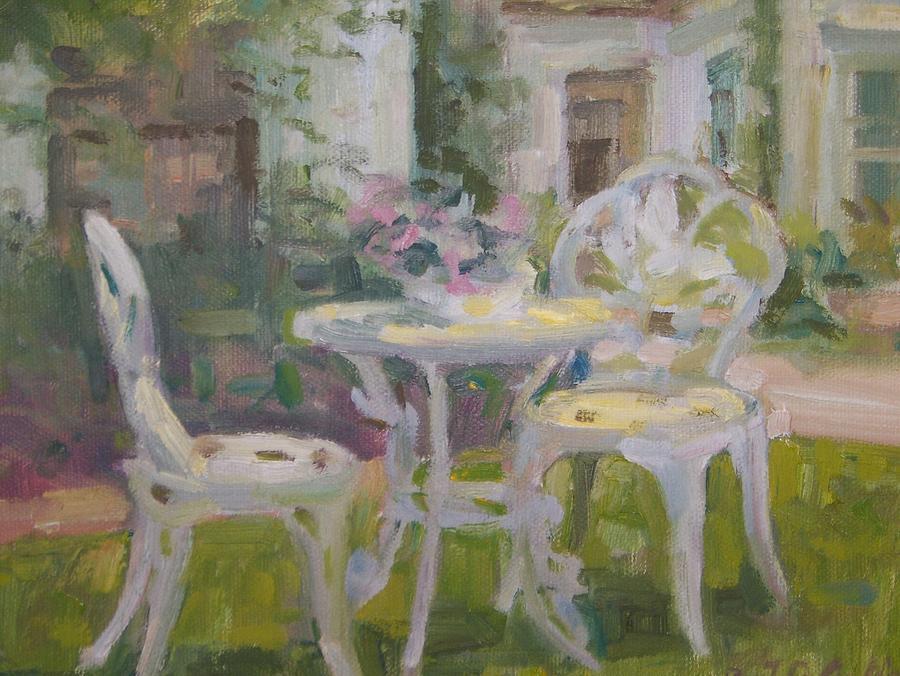 Beautiful Garden Painting   Garden Table By Bart DeCeglie