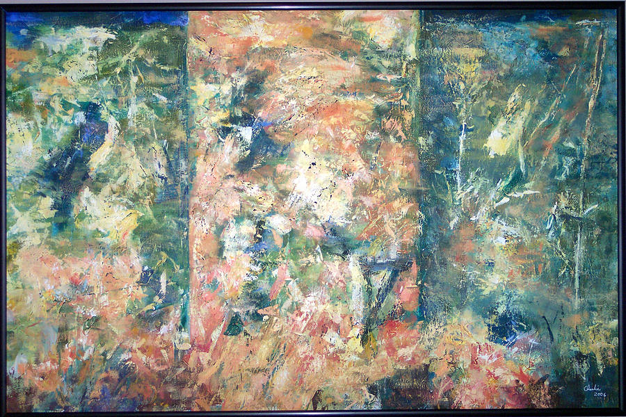 Abstract Painting - Garden Triptych by Charlie Harris