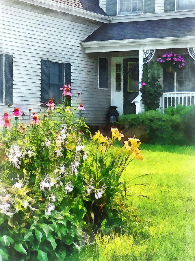 Cone Flower Photograph - Garden With Coneflowers And Lilies by Susan Savad