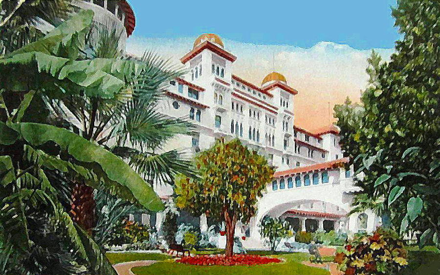 Gardens Of The Hotel Green In Pasadena Ca 1910 Painting By