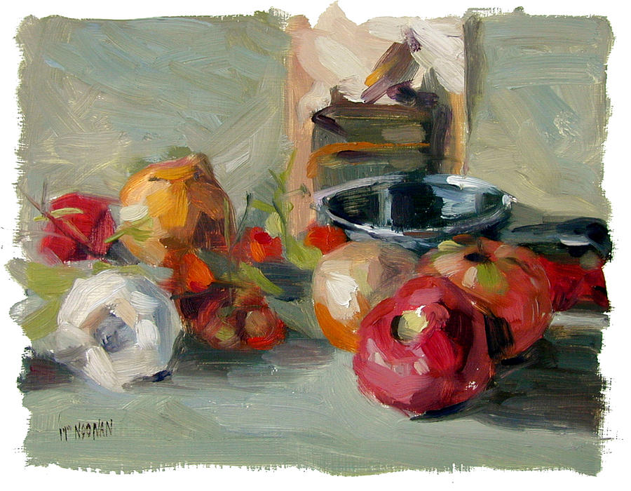 Tomato Painting - Garlic And Tomatoes by William Noonan