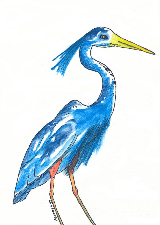 Blue Heron Drawing - Garza Azul by Michael Mooney