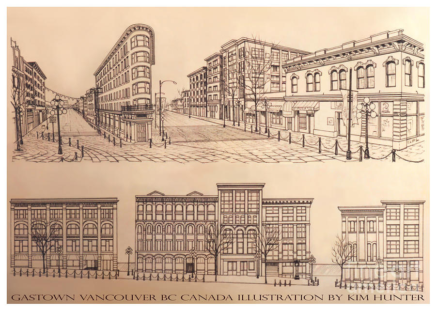 Cityscape Drawing - Gastown Vancouver Canada Prints by Kim Hunter
