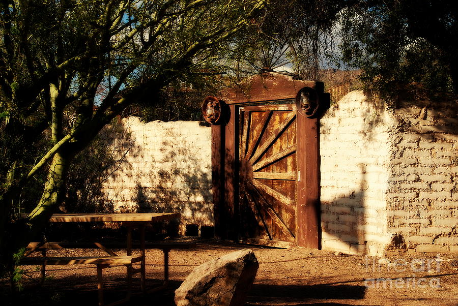 Gate Photograph - Gate To Cowboy Heaven In Old Tuscon Az by Susanne Van Hulst
