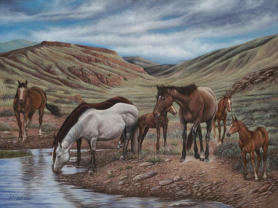 Horses Painting - Gathering At Diablo Canyon by Ricardo Chavez-Mendez
