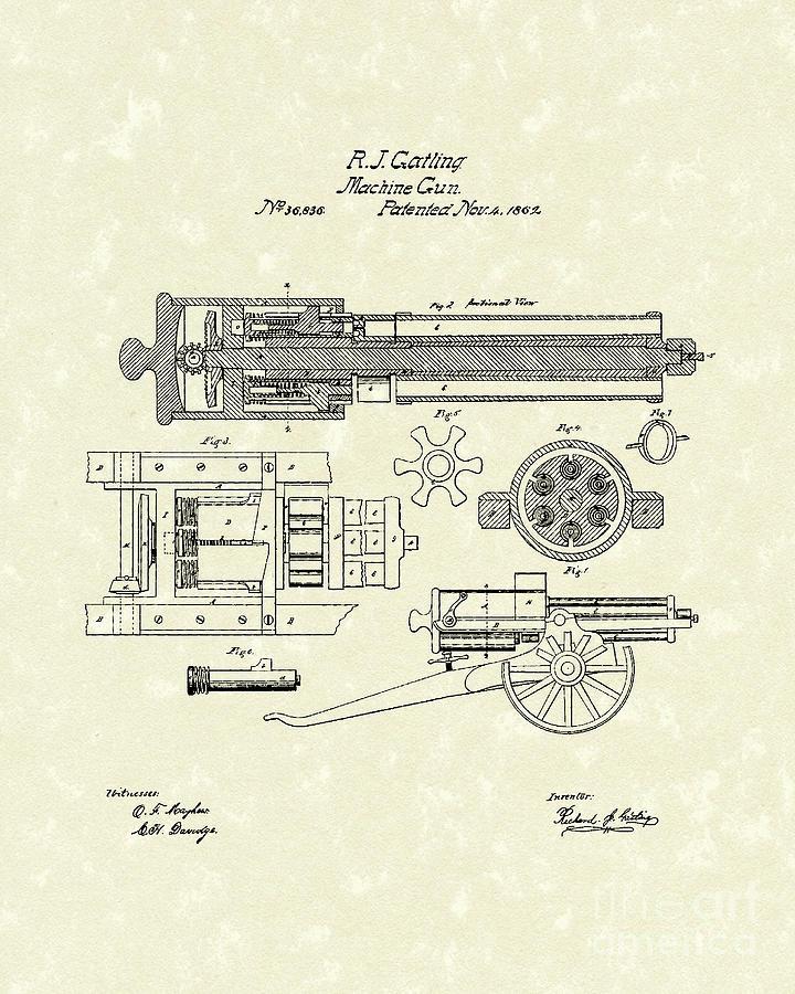 Gatling Design gatling machine gun 1862 patent drawing by prior design