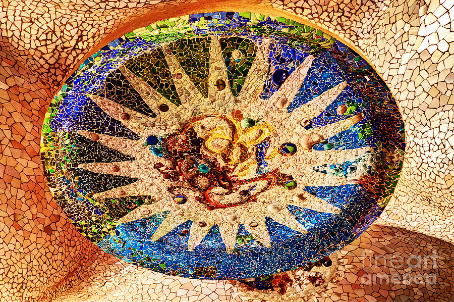 Ceiling Photograph - Gaudi Medallion by Bob and Nancy Kendrick