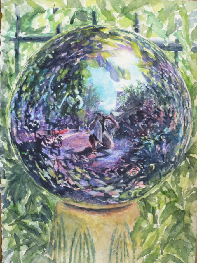 Purple Painting - Gazing Ball by Harriet Hazlett