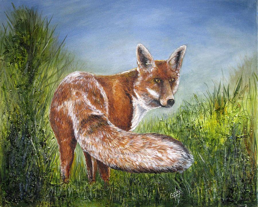 Fox Painting - Gazing Fox by Karen Copley