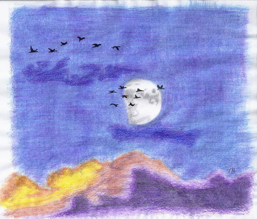 Geese Drawing - Geese And The Moon by Tony  Nelson
