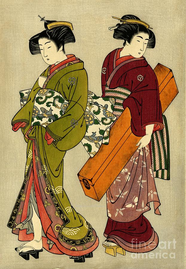 Geisha And Servant With Koto 1777 Photograph by Padre Art