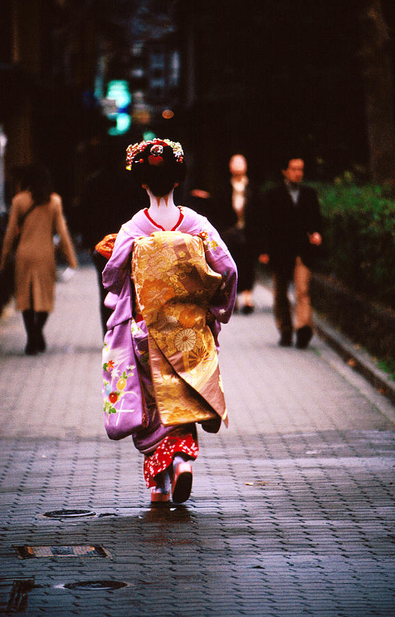 Adult Photograph - Geisha In Kimono Walking Away, Pontocho Districts, Kyoto, Japan by Lonely Planet