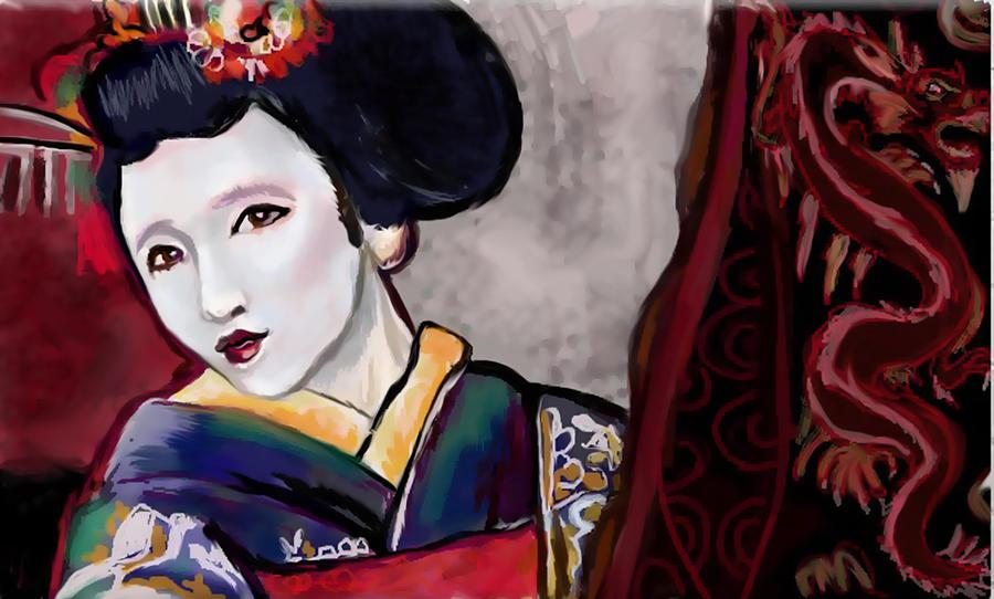Geisha Study Mixed Media by Lakota Phillips