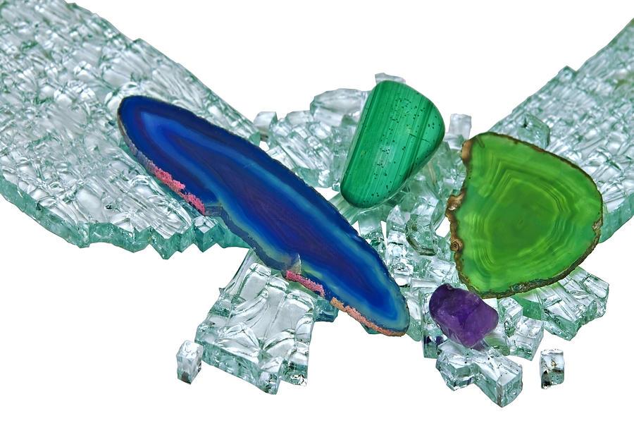 Adornment Photograph - Gemstones And Broken Glass by Susan Leggett