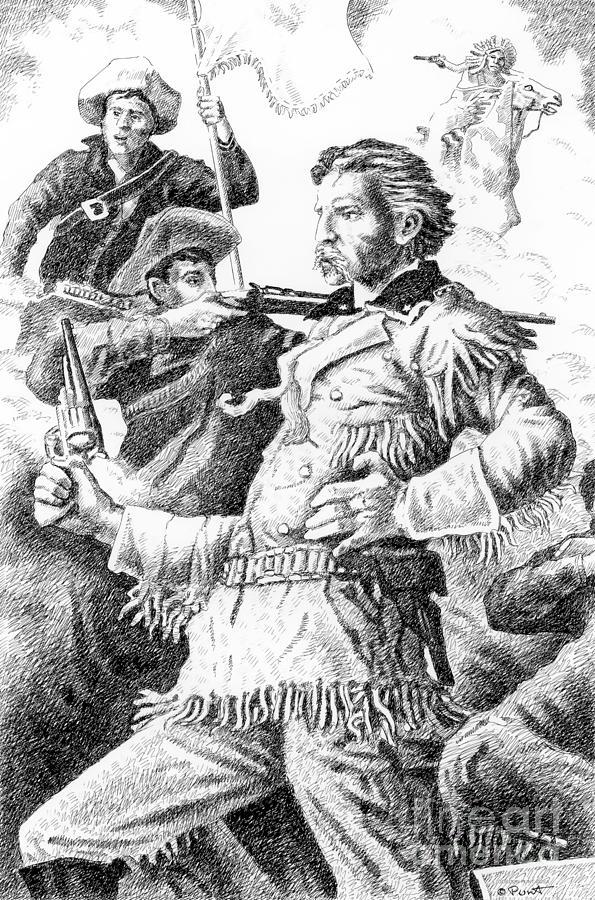 Jim Bridger Drawing - General Custers Last Stand by Gordon Punt