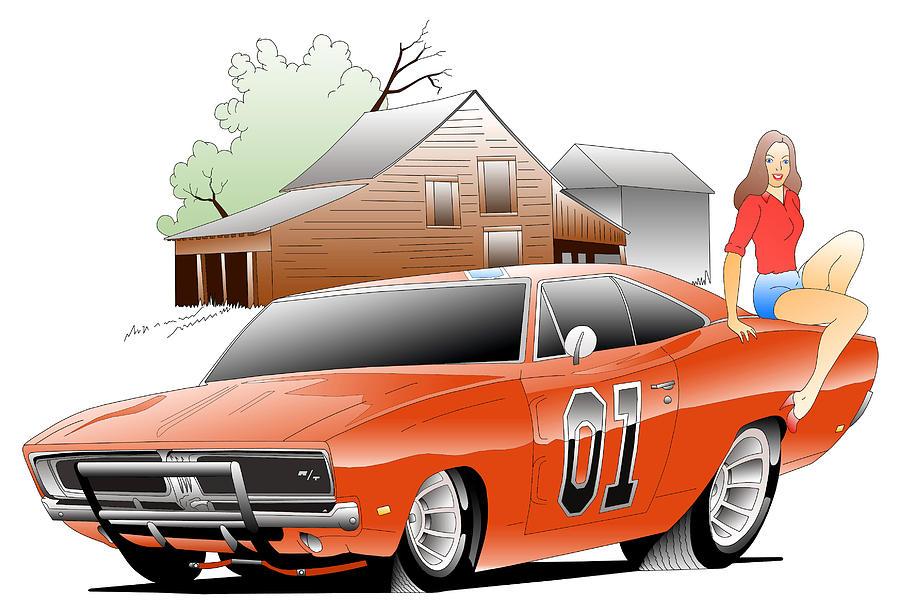 Cartoon Digital Art - General Lee Digital by Lyle Brown
