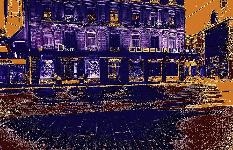 Geneva Digital Art - Geneva Street At Night by Bimal Mehta