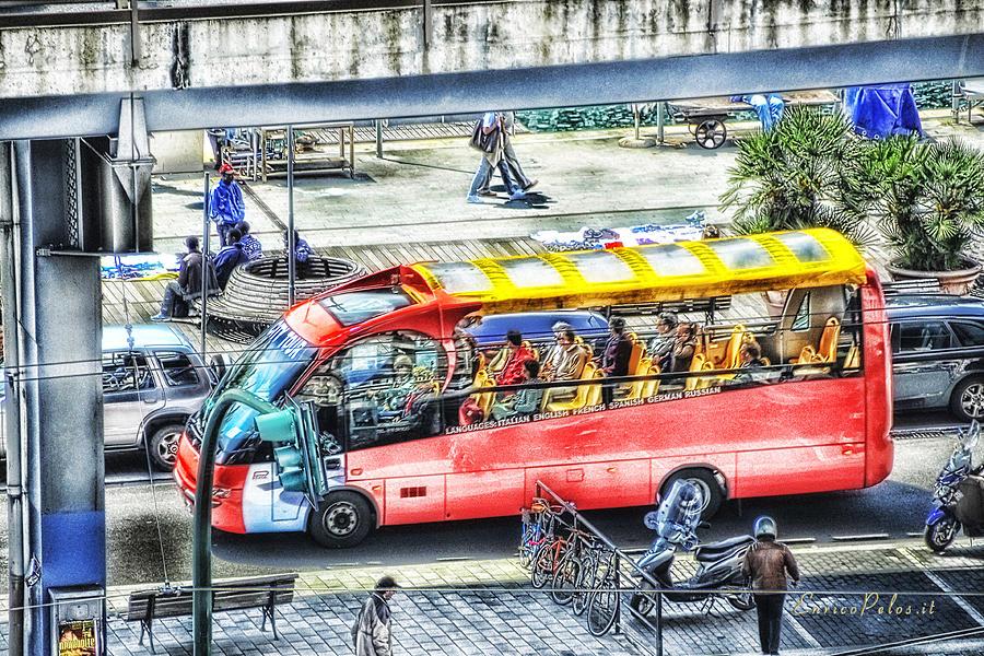 Genova Photograph - Genoa Sightseeing City Bus by Enrico Pelos