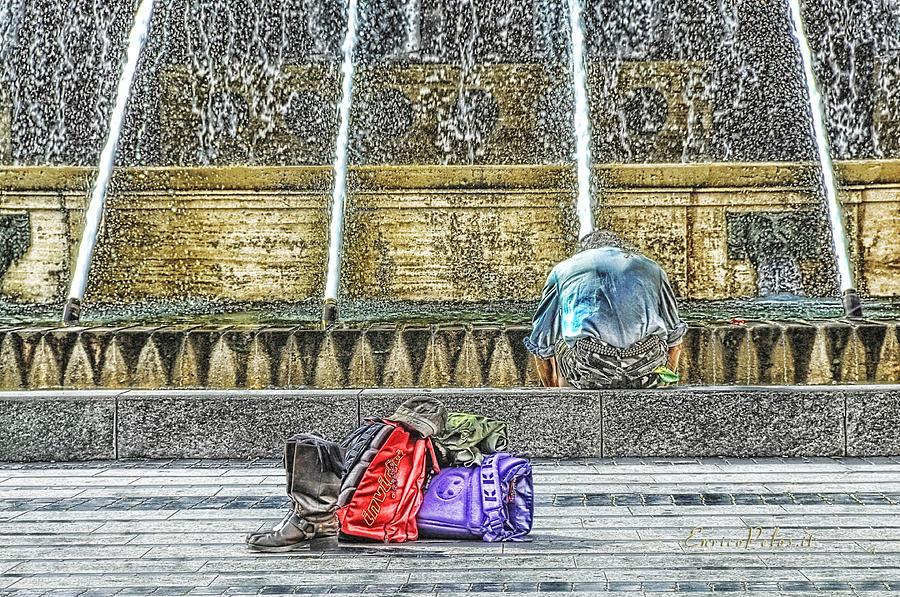 Piazza De Ferrari Mixed Media - Genoa Sweet Hitchhiker In De Ferrari Square by Enrico Pelos