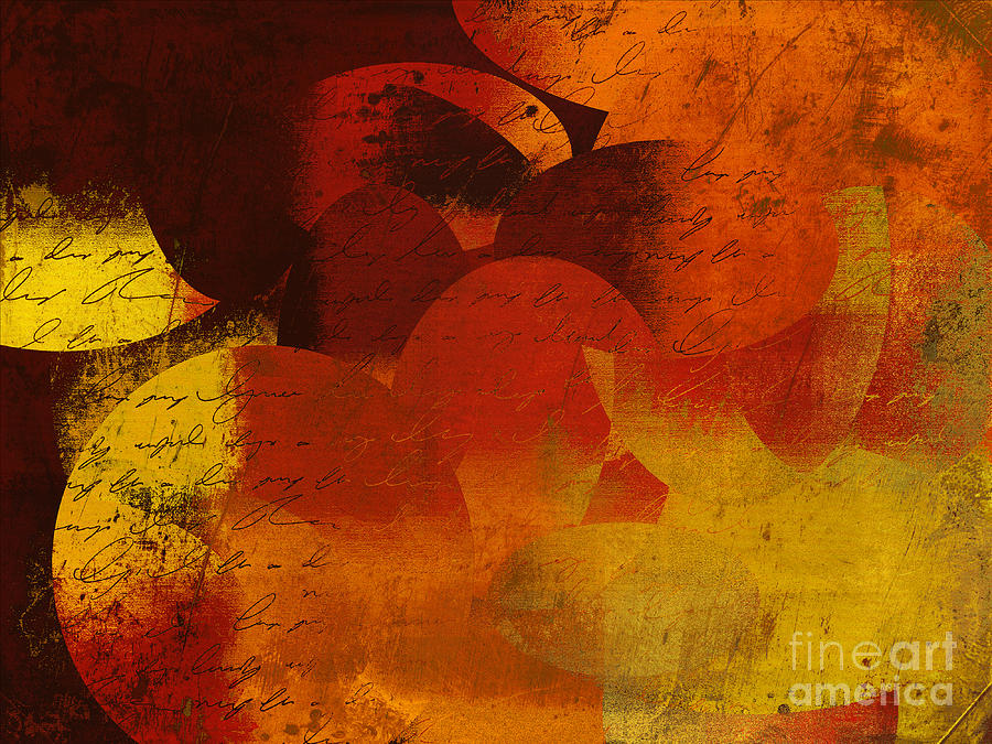 Orange Digital Art - Geomix 05 - 02at02b by Variance Collections
