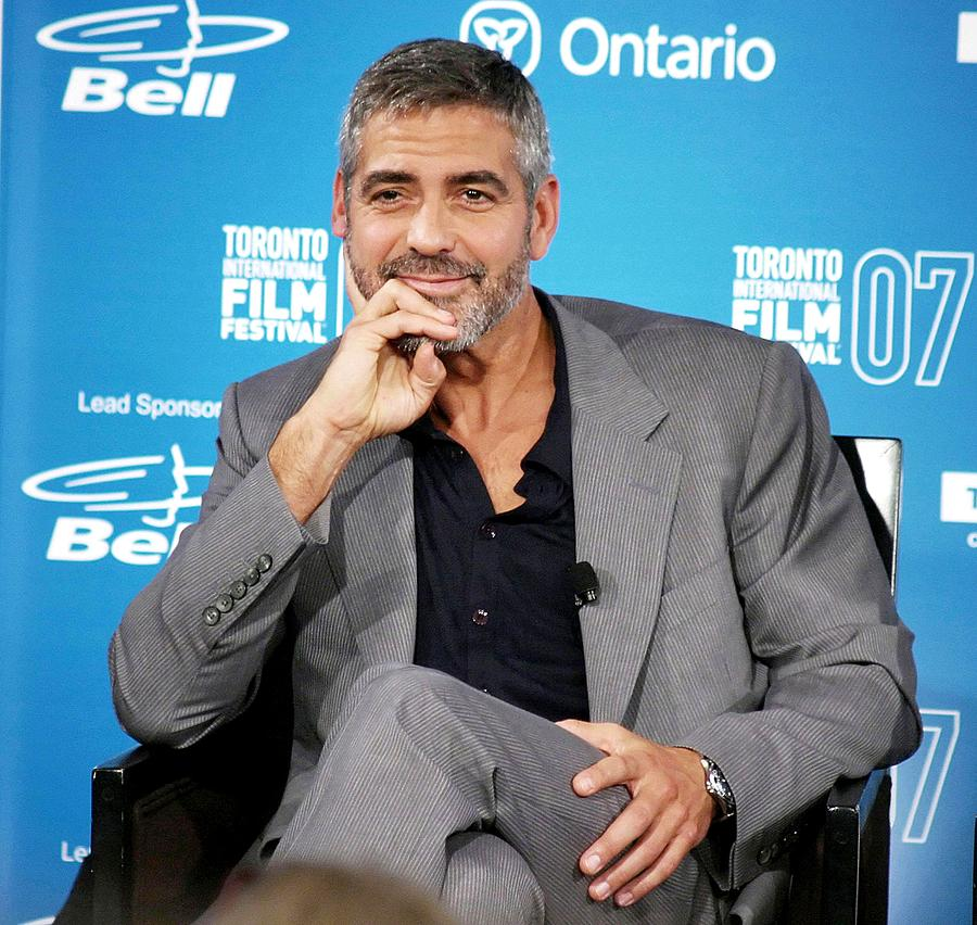 Four Seasons Hotel Photograph - George Clooney At The Press Conference by Everett
