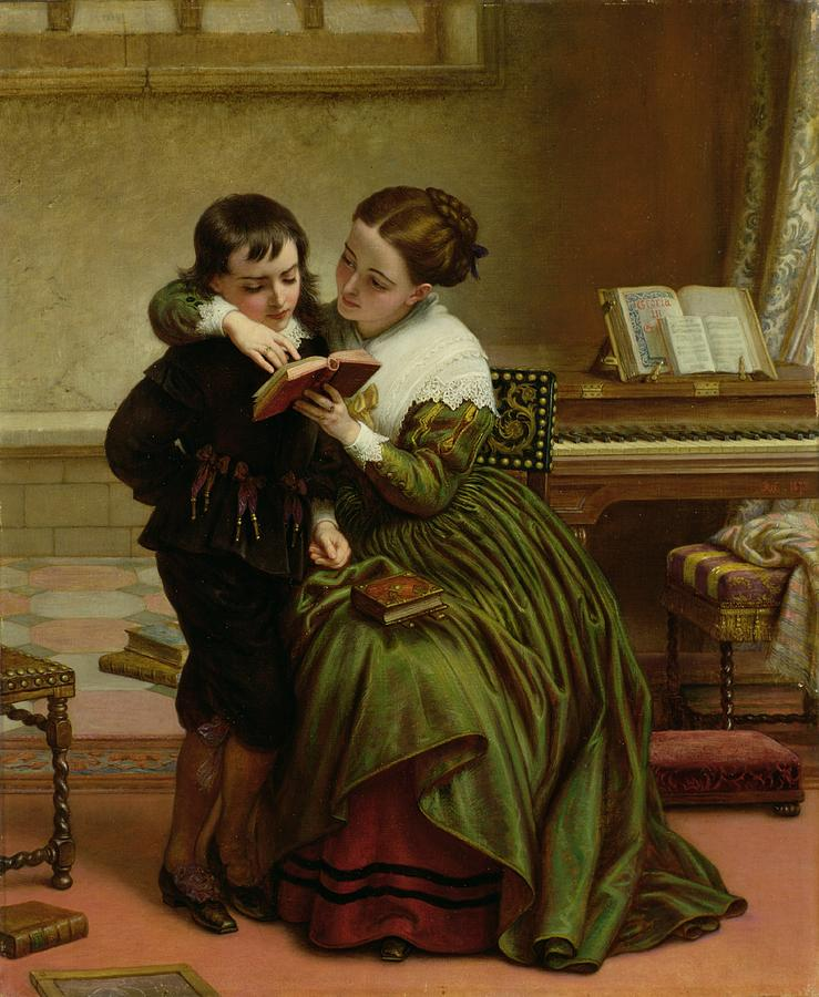 Desk Painting - George Herbert and His Mother by Charles West Cope