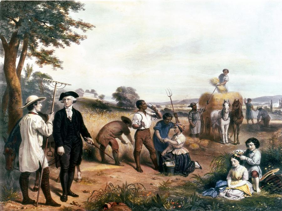 History Photograph - George Washington As A Farmer, Standing by Everett