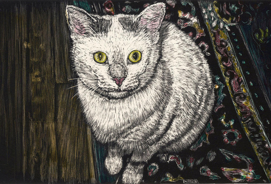 White Cat Painting - Georgie The Cat by Robert Goudreau