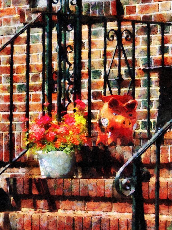 Geraniums Photograph - Geraniums And A Pig by Susan Savad