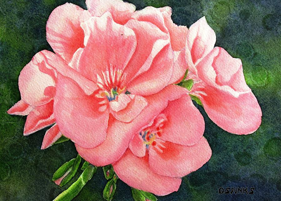 Geraniums Painting - Geraniums by Debra Spinks