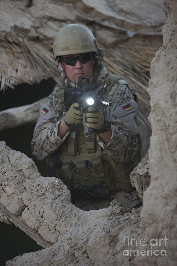 Operation Enduring Freedom Photograph - German Army Soldier Armed With A M4 by Terry Moore