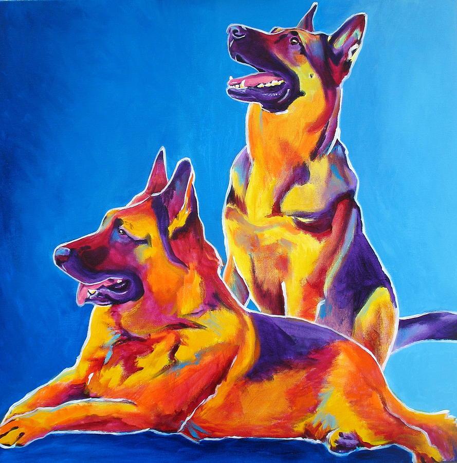 Dawgart Painting - German Shepherd - Eiko And Erin by Alicia VanNoy Call