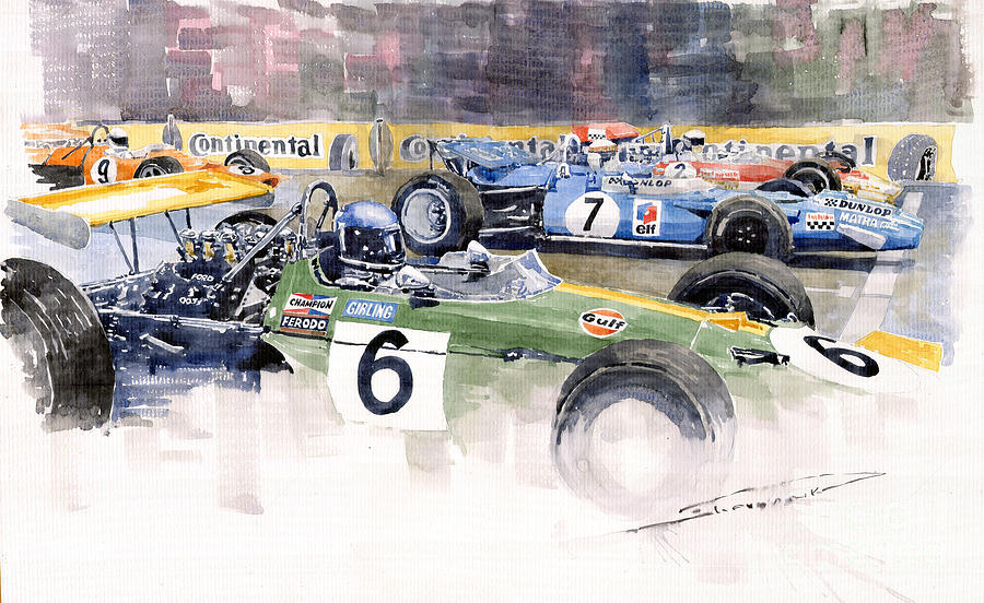 Watercolor Painting - Germany Gp Nurburgring 1969 by Yuriy Shevchuk