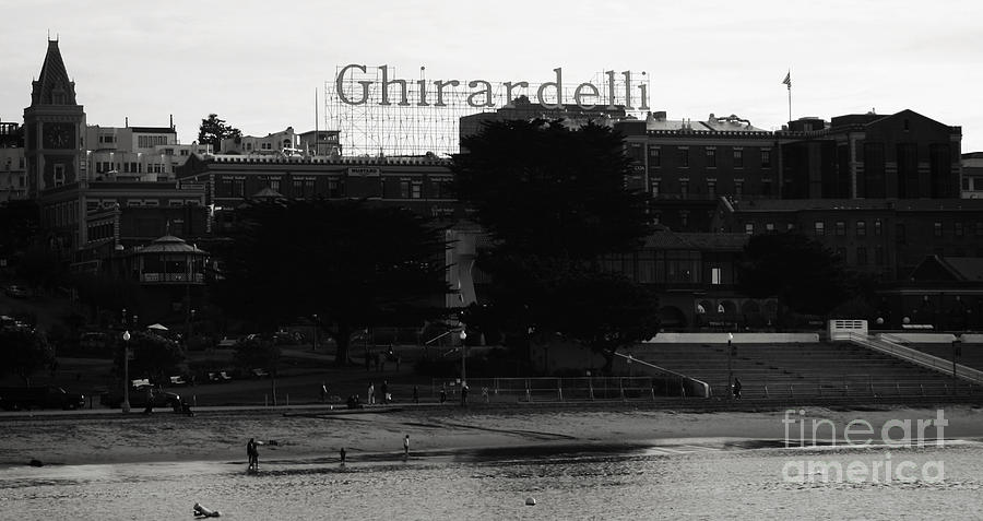 Chocolate Photograph - Ghirardelli Square In Black And White by Linda Woods