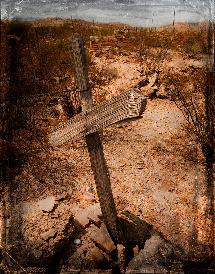 Nikon D80 Photograph - Ghost Town Cross by Sonja Quintero