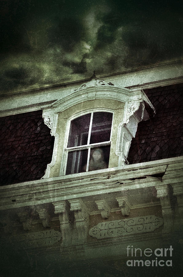 House Photograph - Ghostly Girl In Upstairs Window by Jill Battaglia